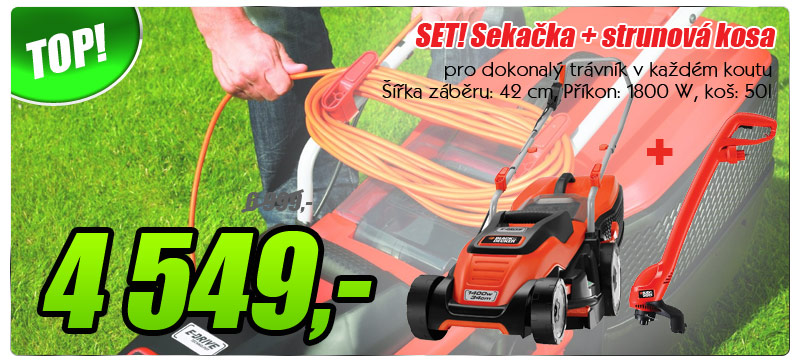 Elektrická sekačka Black&Decker EMAX42i + GL250 Set
